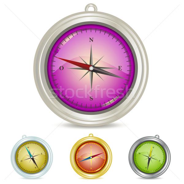 Kompas ilustracja zestaw globalny łatwe Zdjęcia stock © simas2