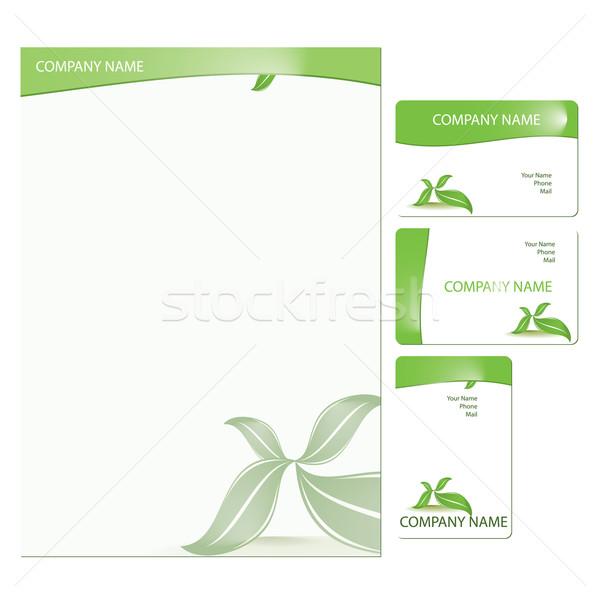 şablon ayarlamak üç yeşil Stok fotoğraf © simas2