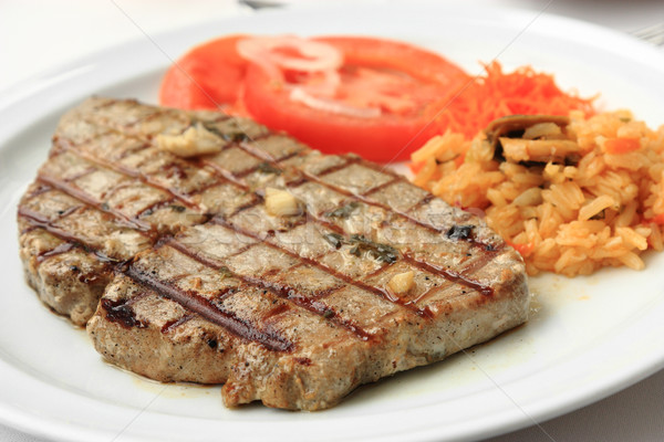 Grelhado atum bife arroz tomates comida Foto stock © simas2
