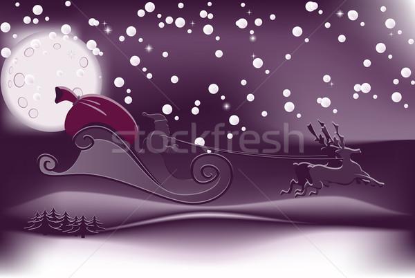 Papá noel ilustración vuelo Navidad cielo luz Foto stock © simas2
