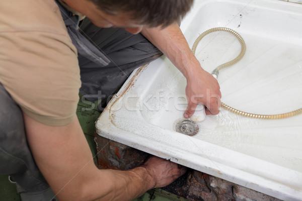 Encanador drenar banheiro chuveiro homem trabalhador Foto stock © simazoran