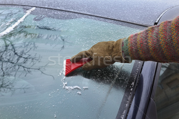 Ice cleaning from windshield Stock photo © simazoran