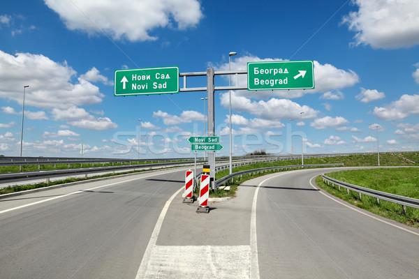 Autópálya útkereszteződés Szerbia új folyosó 10 Stock fotó © simazoran