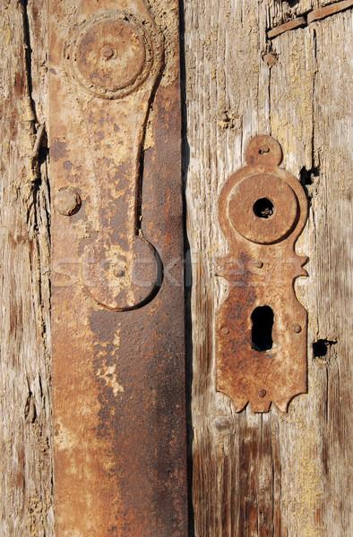 Eski kapı kilitlemek ahşap ahşap pas Stok fotoğraf © simazoran