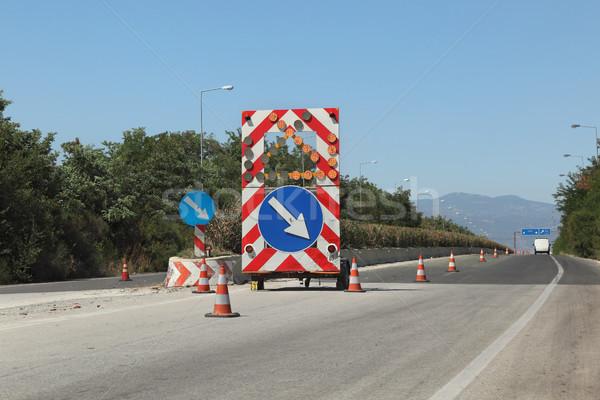 Snelweg wederopbouw verkeersborden weg thessaloniki hemel Stockfoto © simazoran