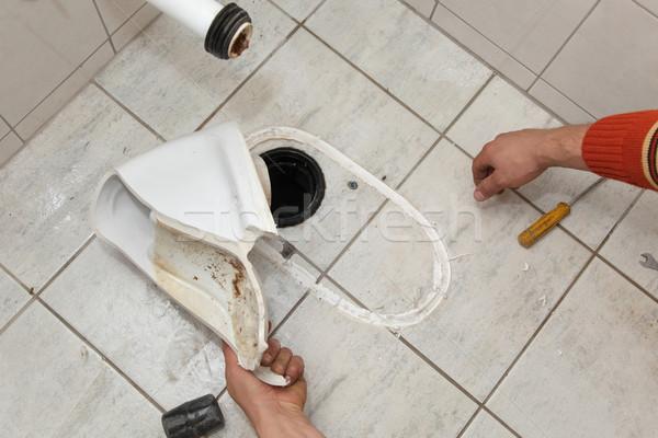 Vízvezetékszerelő törött wc illemhely vág szilikon Stock fotó © simazoran