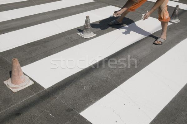 Zebra javít gyalogos utca kereszt festék Stock fotó © simazoran