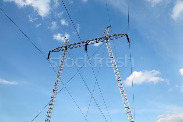 Indústria alta tensão eletricidade blue sky branco nuvens Foto stock © simazoran