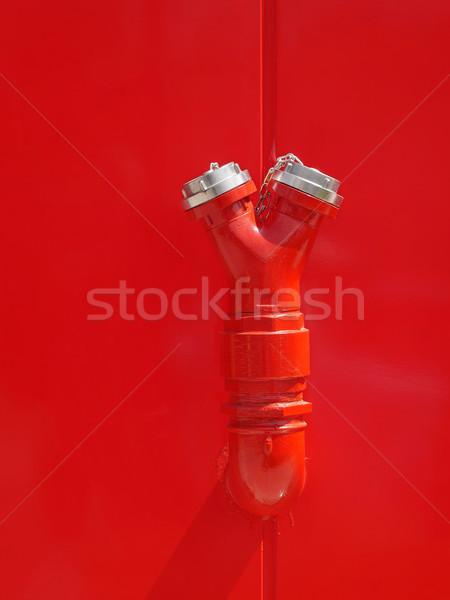 Red fire hydrant at wall Stock photo © simazoran