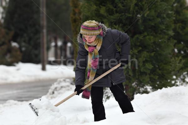 Winter time, snow removing from street Stock photo © simazoran