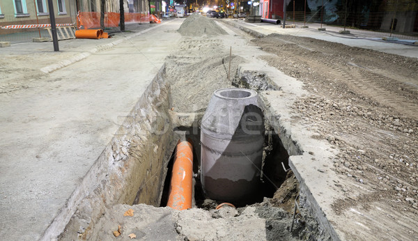 Construction site, sewerage in city Stock photo © simazoran