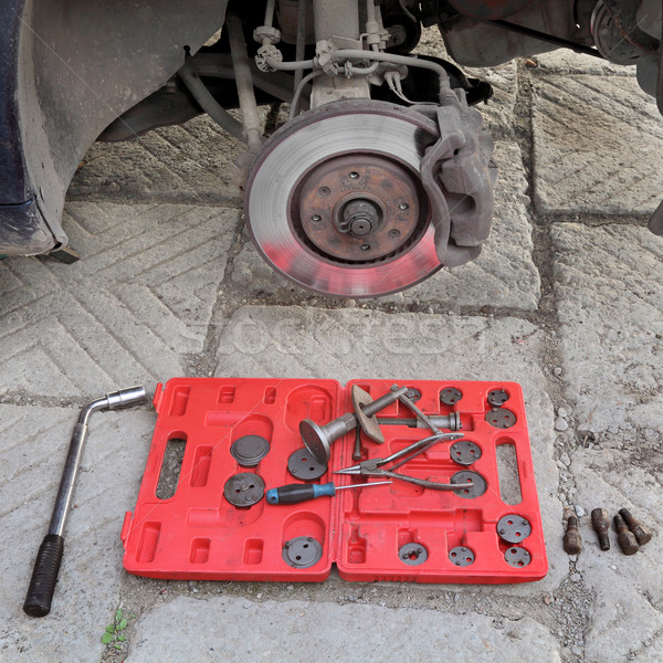Car mechanic tools for disc brakes Stock photo © simazoran