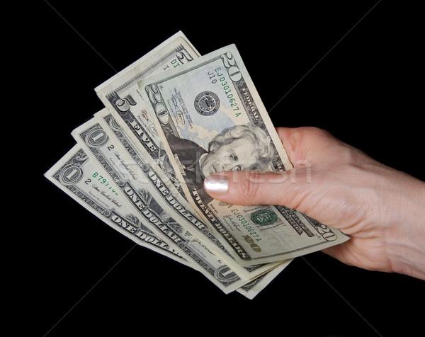 Pénz nő kéz dollár bankjegy közelkép Stock fotó © simazoran