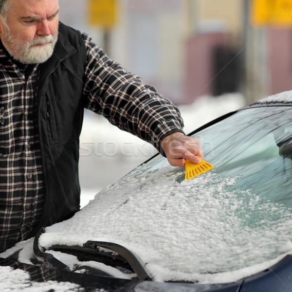 Winter scene, driver cleaning windshield og car Stock photo © simazoran