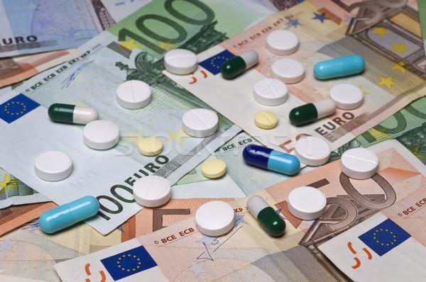 Egészség fehér kék citromsárga tabletták Euro Stock fotó © simazoran