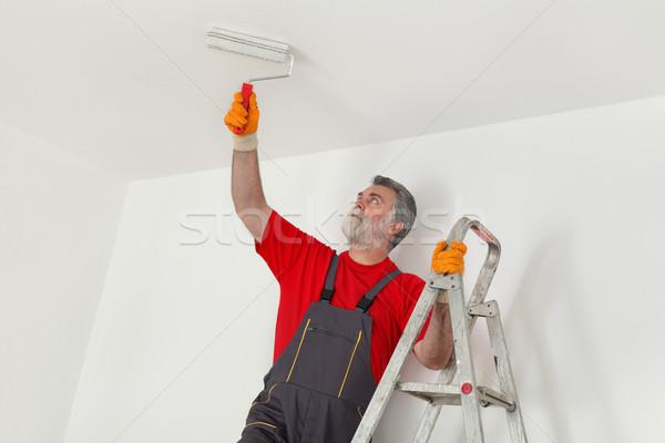 Stockfoto: Werknemer · verf · muur · kamer · schilderij · plafond