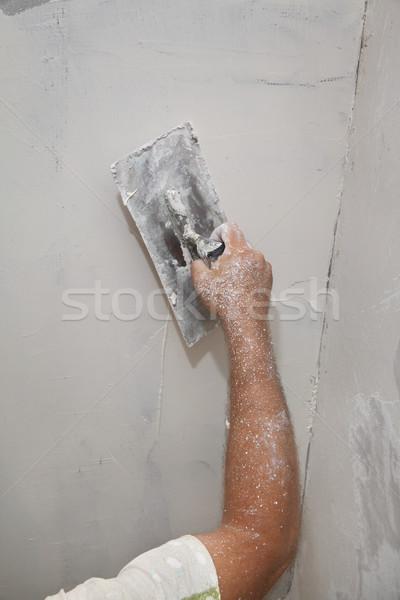 Pracownika gipsu ściany strony budynku Zdjęcia stock © simazoran