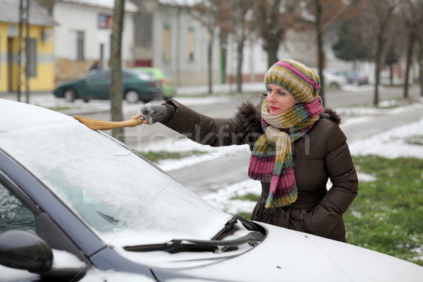 Automotive, woman remove snow from a car Stock photo © simazoran