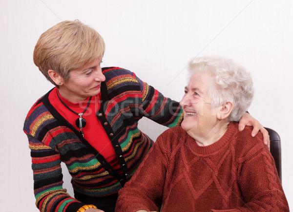 Générations supérieurs maturité parler rire femme Photo stock © simazoran