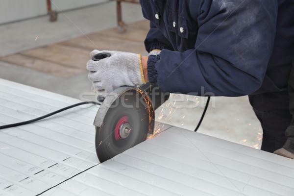 Işçi açı öğütücü ısı Stok fotoğraf © simazoran