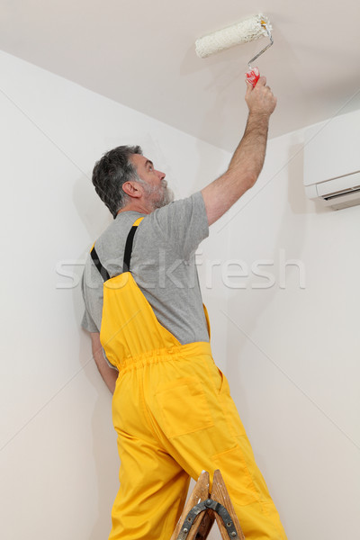 Worker painting ceiling in room Stock photo © simazoran