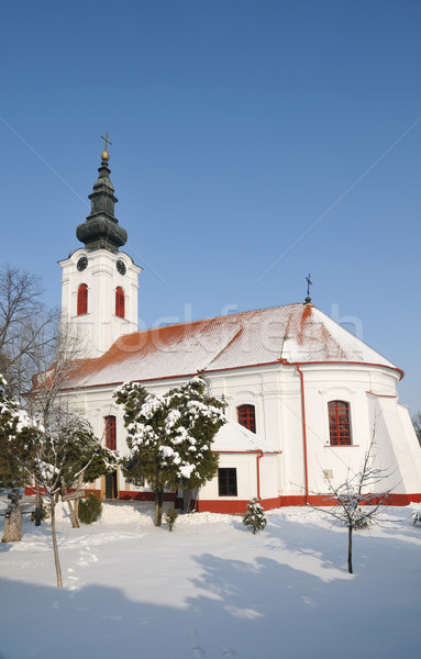 Photo stock: Orthodoxe · église · christian · ciel · neige · culte