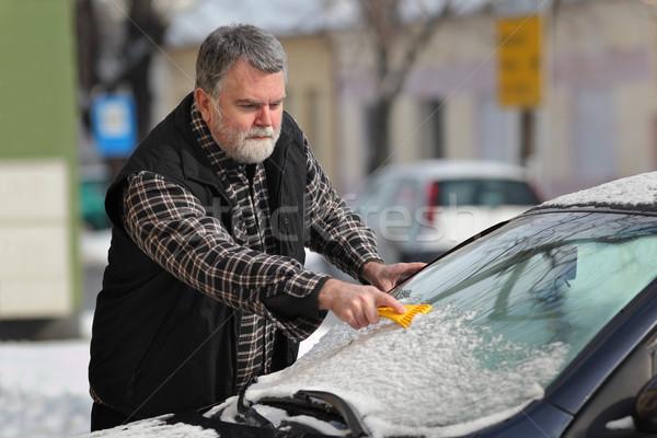 Sürücü temizlik ön cam araba kar Stok fotoğraf © simazoran