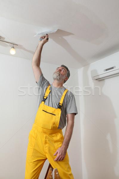 Werknemer gips plafond huis bouw Stockfoto © simazoran