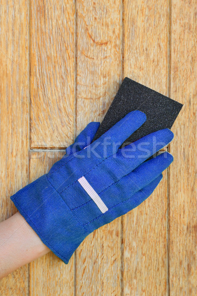 Plank preparation with sanding sponge Stock photo © simazoran