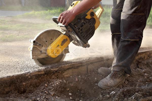 建設現場 ワーカー カット アスファルト 見た ブレード ストックフォト © simazoran