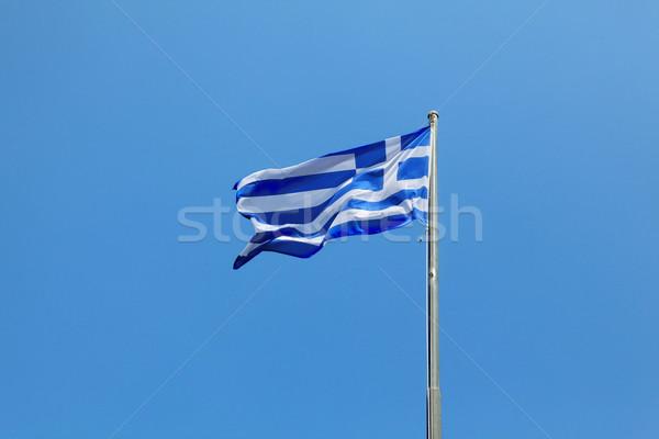 Grèce pavillon battant ciel bleu ciel signe Photo stock © simazoran