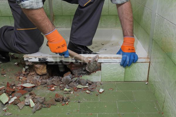 Home renovation, bathroom demolish Stock photo © simazoran