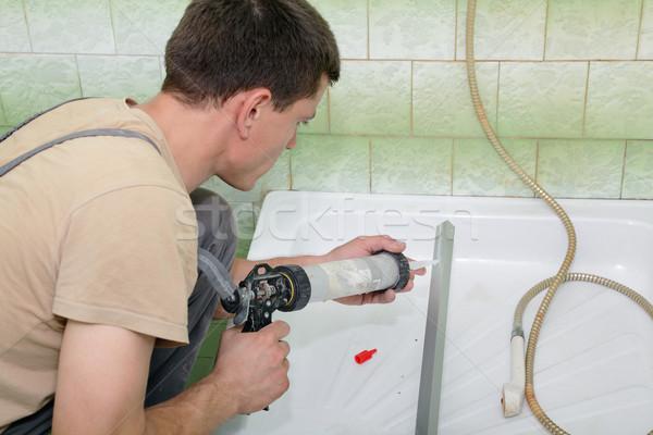 Plumbing idraulico silicone cartuccia alluminio Foto d'archivio © simazoran