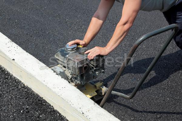 Сток-фото: работник · дорожное · строительство · дороги · здании · город