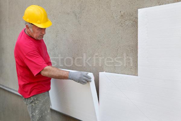 Foto stock: Isolamento · parede · trabalhador · folha · homem