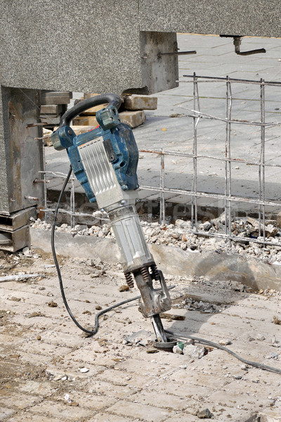Construction site, demolishing with electric plugger Stock photo © simazoran