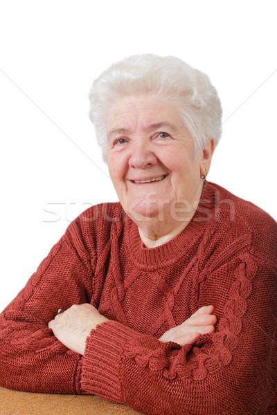 肖像 笑みを浮かべて シニア 女性 白 笑顔 ストックフォト © simazoran