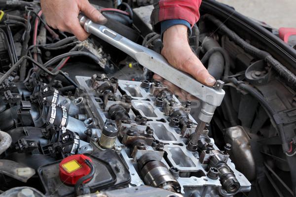 Automotive, cylinder head servicing Stock photo © simazoran