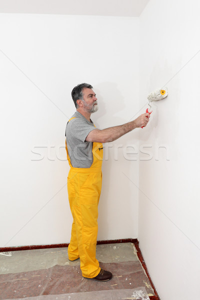 Worker painting  in a room, home renovation Stock photo © simazoran