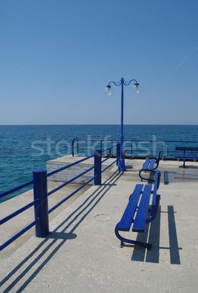 Promenade Blauw bank hemel eiland beton Stockfoto © simazoran