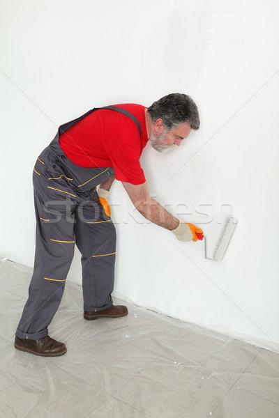 Stockfoto: Werknemer · verf · muur · kamer · schilderij · witte