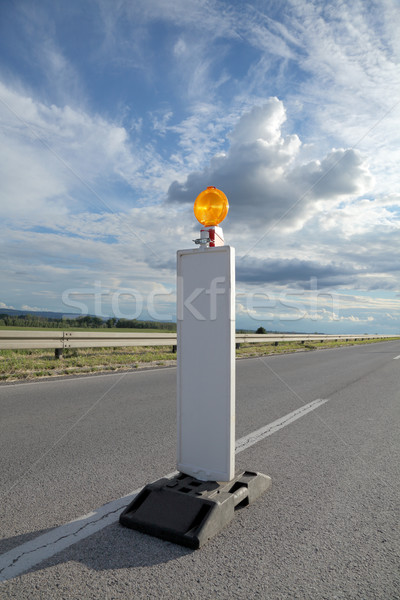 Yol yapımı yol işareti karayolu yeniden yapılanma dramatik Stok fotoğraf © simazoran