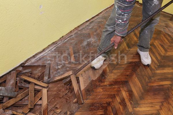 Otthon rendbehoz munkás tölgy kéz épület Stock fotó © simazoran