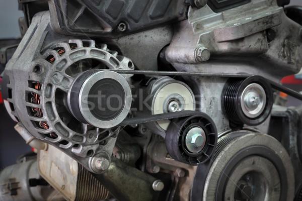 Modern car servicing pulley, belt and generator Stock photo © simazoran