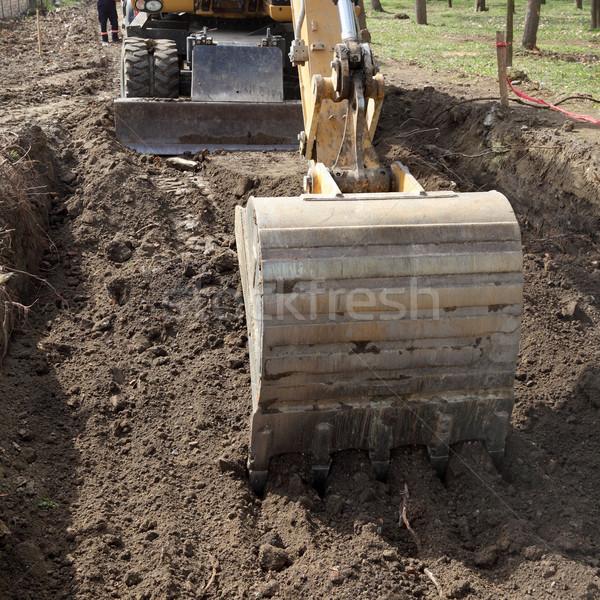 Inşaat araç çalışma ekskavatör yol yapımı Stok fotoğraf © simazoran