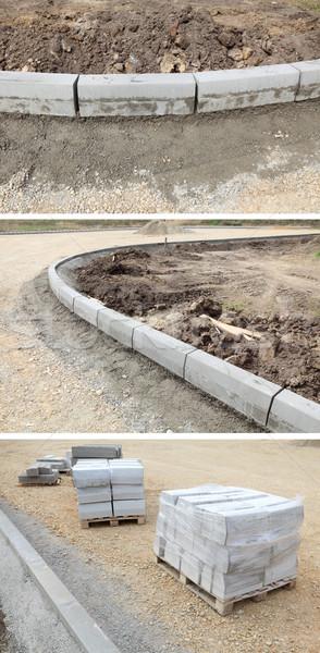 Wegenbouw plaats kant van de weg stenen grind weg Stockfoto © simazoran