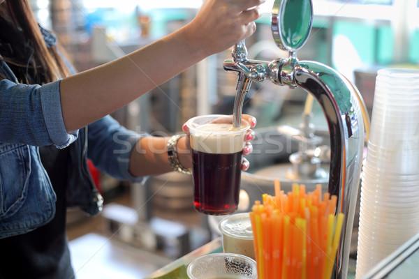 Bier festival donkere plastic glas Stockfoto © simazoran