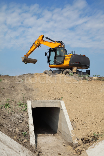 Agriculture, irrigation channel construction site in field Stock photo © simazoran