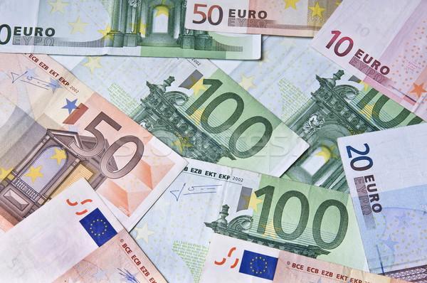 Pénz halom Euro bankjegy közelkép üzlet Stock fotó © simazoran