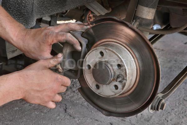 Car mechanic working on disc brakes Stock photo © simazoran